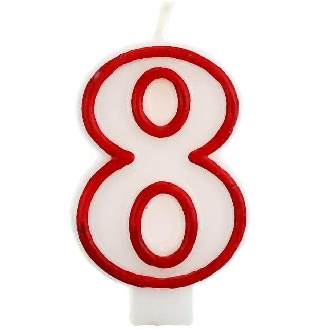 """Świeczka na tort """"8"""", GODAN, czerwony kontur, 7 cm"""