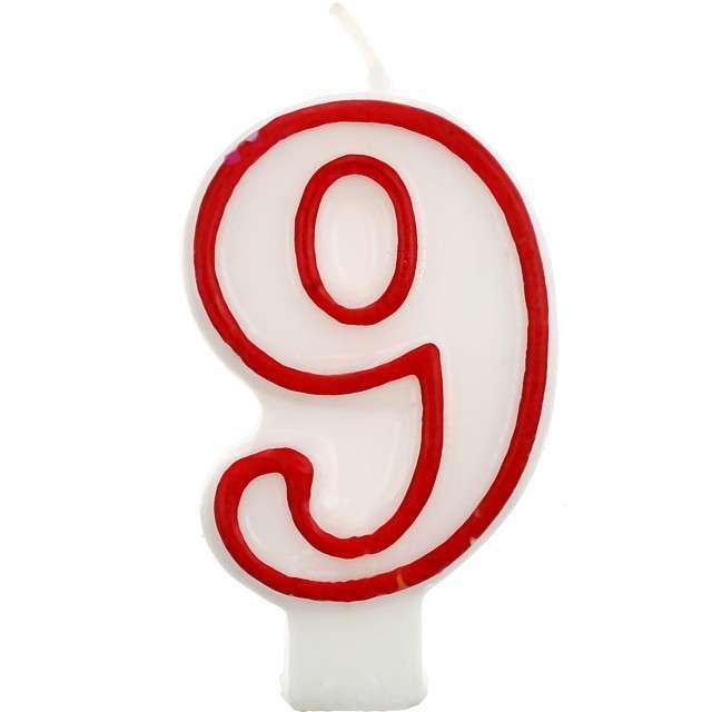 """Świeczka na tort """"9"""", GODAN, czerwony kontur, 7 cm"""