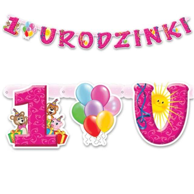 """Baner """"1 Urodzinki"""", różowy, 175 cm"""