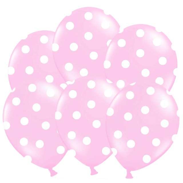 "Balony 14"", ""Kropki"" Pastel Baby Pink, STRONG, 6 szt"