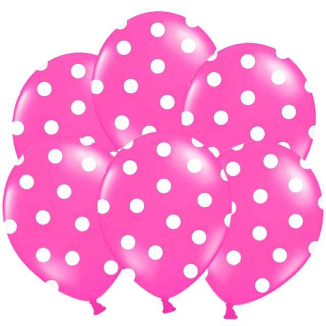 """Balony 14"""", """"Kropki"""" Pastel Hot Pink, STRONG, 6 szt"""