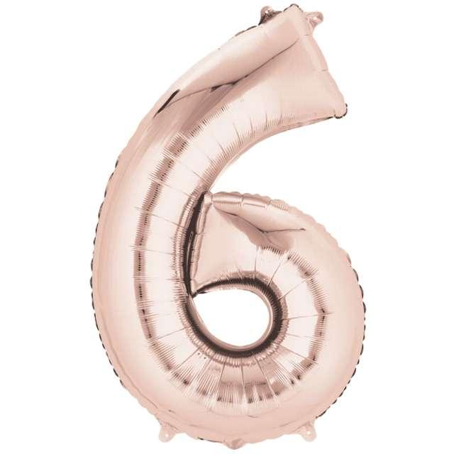 """Balon foliowy cyfra 6, 34"""", szampański"""