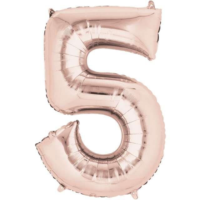 """Balon foliowy cyfra 5, 34"""", szampański"""