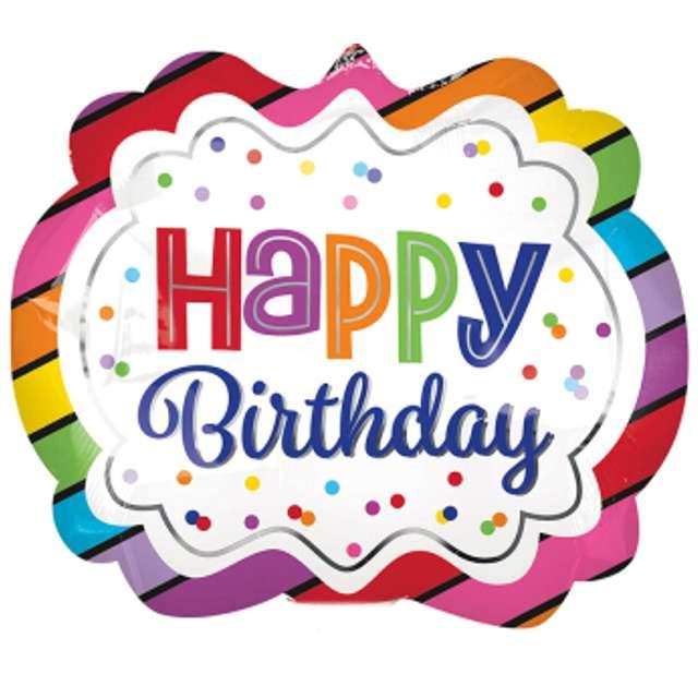 """Balon foliowy """"Happy Birthday Rainbow"""", AMSCAN, 11"""" SHP"""