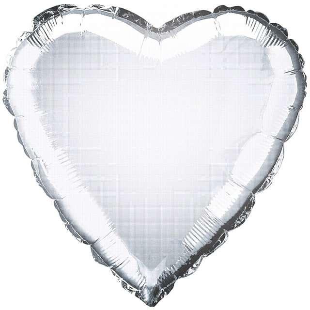 "Balon foliowy ""Serce"", srebrny, AMSCAN, 18"" HRT"