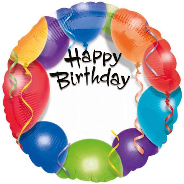 """Balon foliowy """"Happy Birthday baloniki"""", AMSCAN, 18"""" RND"""
