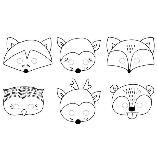 """Maska """"Zwierzątka WoodLand"""", do kolorowania, papierowa, PartyDeco, 6 szt"""
