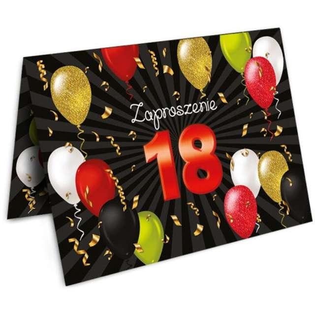 """Zaproszenia z kopertą """"Urodziny 18 Black Red"""", 1 szt"""