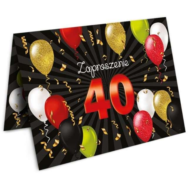 """Zaproszenia z kopertą """"Urodziny 40 Black Red"""", 10 szt"""