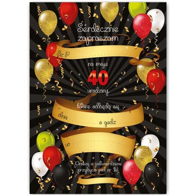 Zaproszenia z kopertą Urodziny 40 Black Red 10 szt
