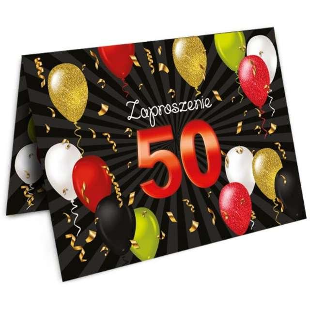 """Zaproszenia z kopertą """"Urodziny 50 Black Red"""", 10 szt"""