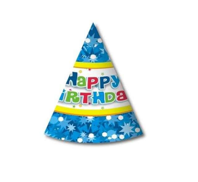 """Czapeczki papierowe """"Happy Birthday niebieskie"""", 6 szt"""