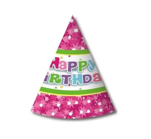 """Czapeczki papierowe """"Happy Birthday różowe"""", 6 szt"""