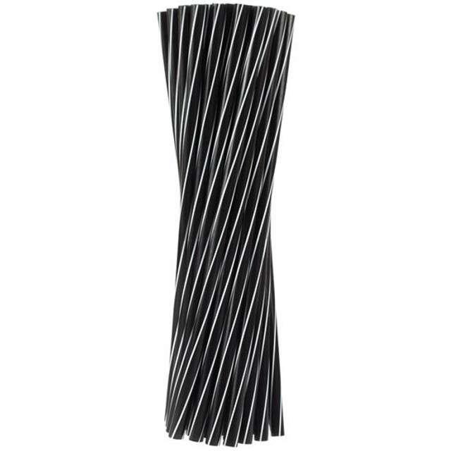 Słomki proste grube 24 cm, czarne białe TWISTER, 500 szt