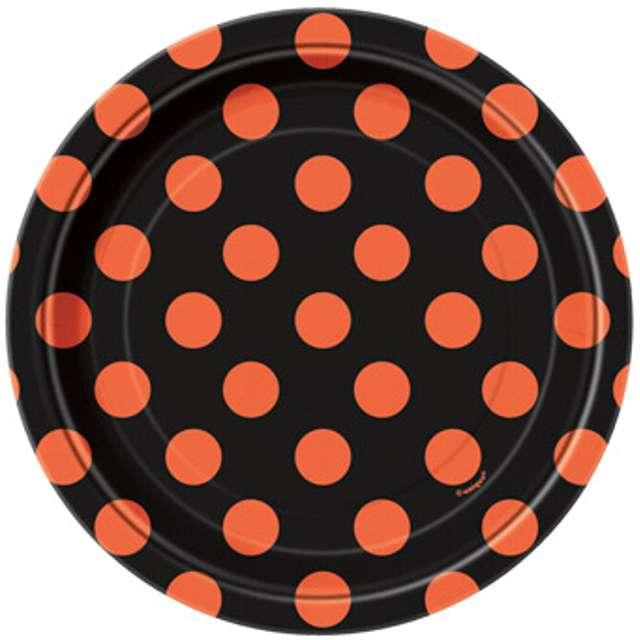 """Talerzyki papierowe """"Kropki"""", czarno pomarańczowe, 18 cm, 8 szt"""