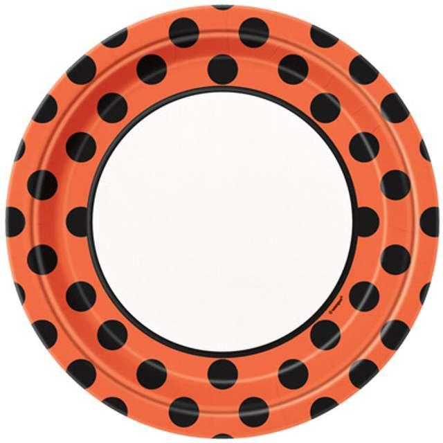 """Talerzyki papierowe """"Kropki"""", biało pomarańczowe, 23 cm, 8 szt"""