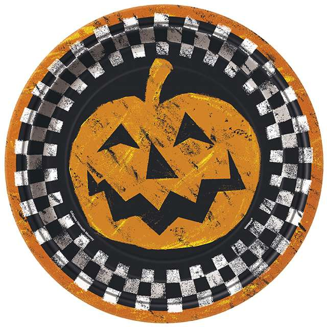 "Talerzyki papierowe ""Checkered Halloween"", UNIQUE, 23 cm, 8 szt"
