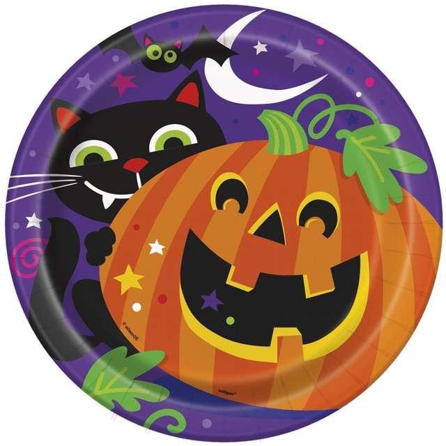 """Talerzyki papierowe """"Happy Halloween"""", UNIQUE, 23 cm, 8 szt"""