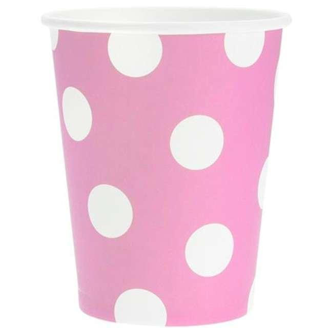 """Kubeczki papierowe """"Groszki"""", różowe, 270 ml, 6 szt"""