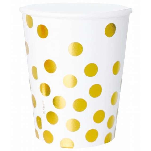 """Kubeczki papierowe """"Złote groszki"""", białe, 270 ml, 6 szt"""