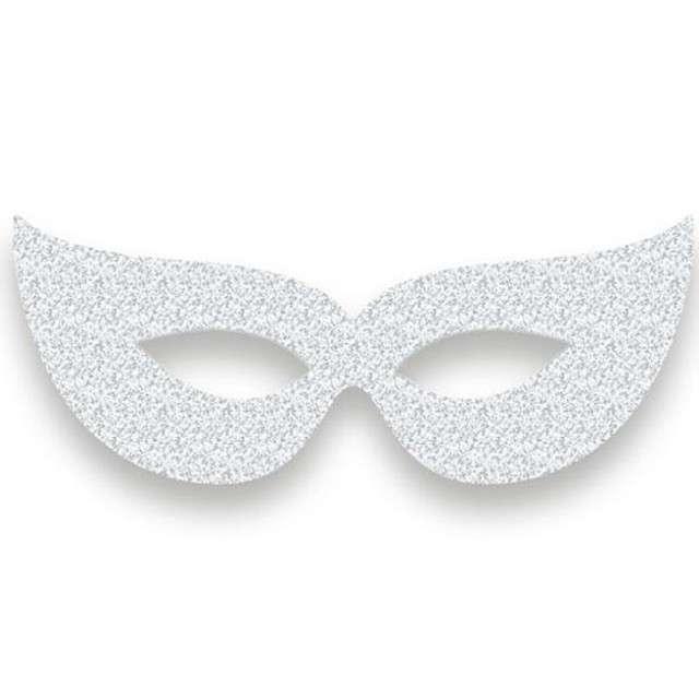 "Maska ""Wenecka na oczy"", papierowa, srebrna, 6 szt"