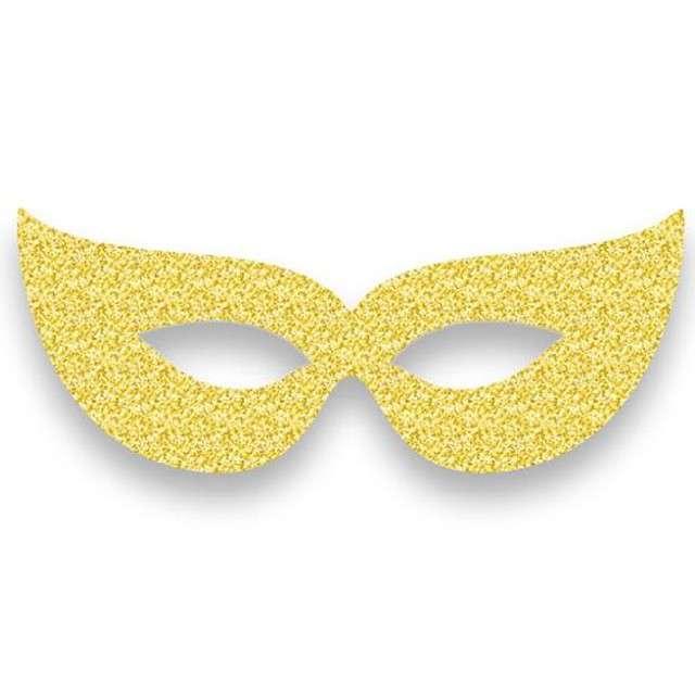 """Maska """"Wenecka na oczy"""", papierowa, złota, 6 szt"""