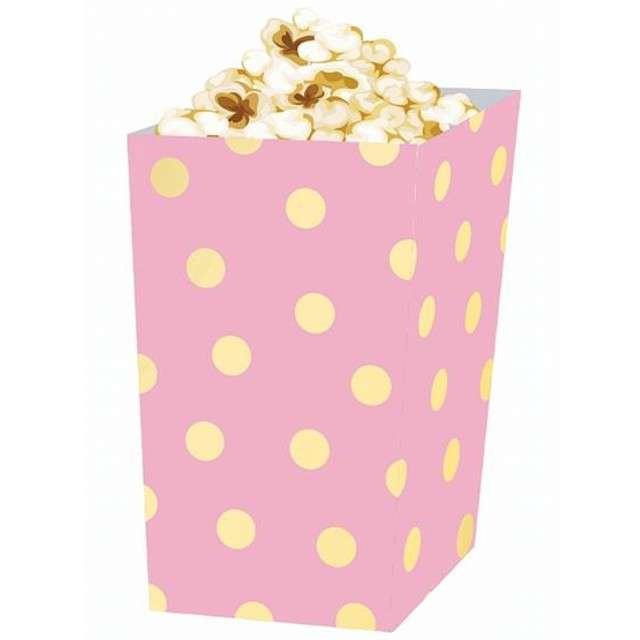 """Pudełka na popcorn """"Złote Groszki"""", różowe, 4 szt"""