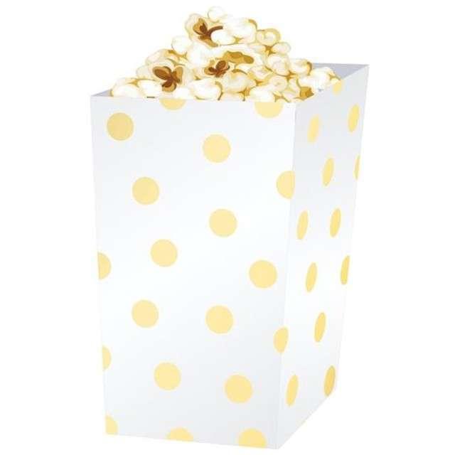 """Pudełka na popcorn """"Złote Groszki"""", białe, 4 szt"""