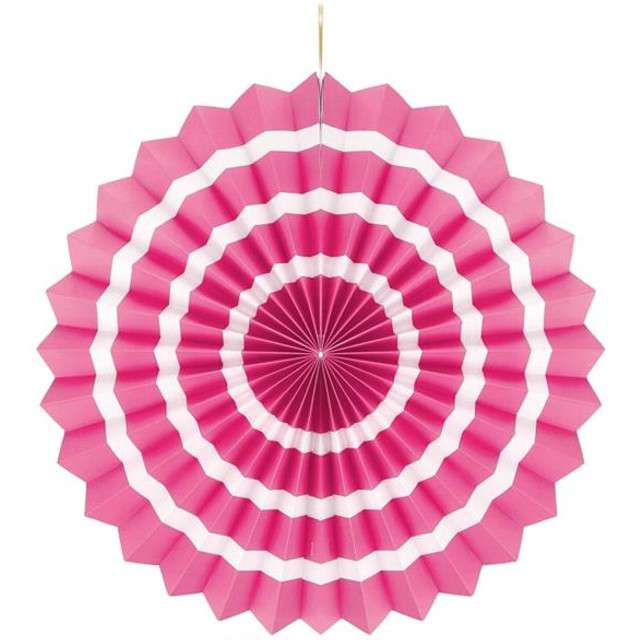 """Rozeta wisząca """"Biały pasek"""", różowa, 40 cm"""