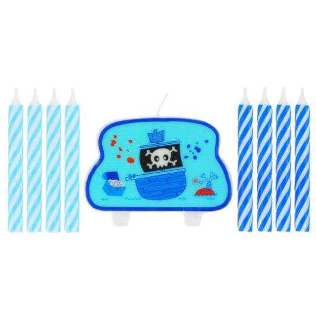 """Świeczki na tort """"Ahoj piraci!"""", niebieskie, GODAN, 9 szt"""