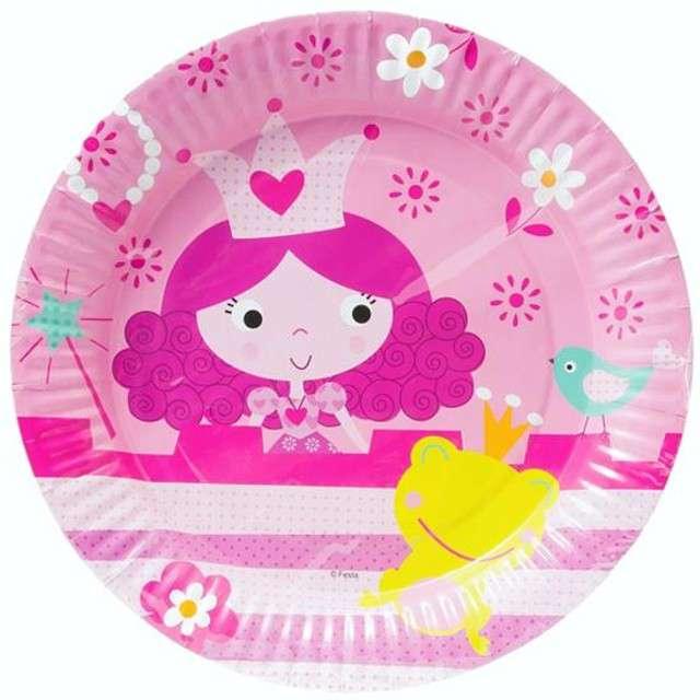 """Talerzyki papierowe """"Księżniczka"""", różowe, 23 cm, 6 szt"""