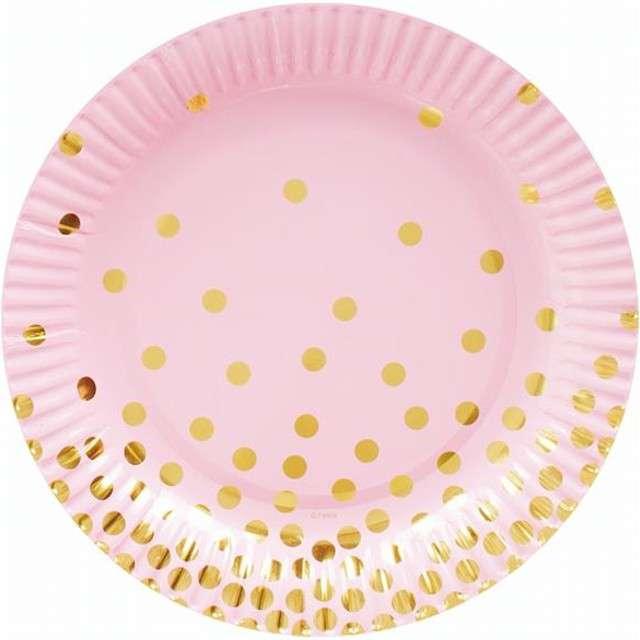 """Talerzyki papierowe """"Złote groszki"""", różowe, 18 cm, 6 szt"""