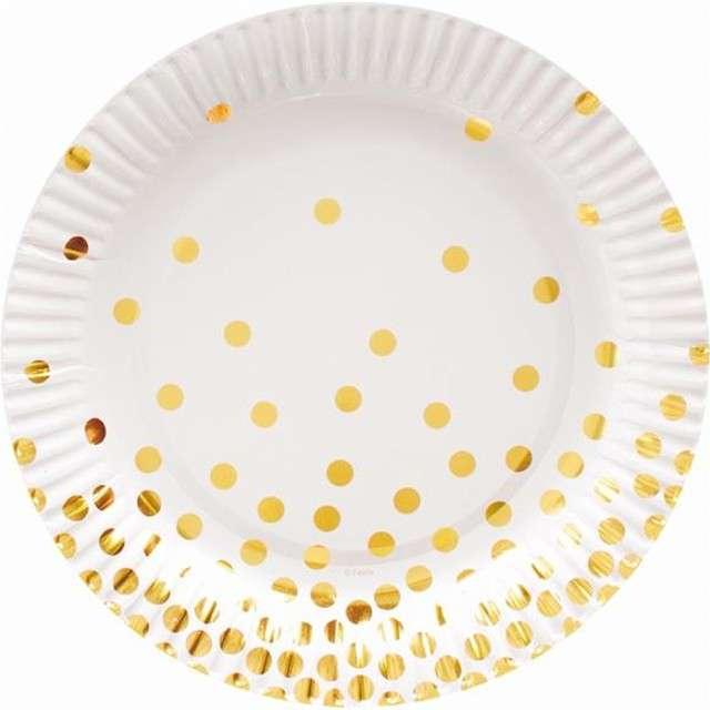 """Talerzyki papierowe """"Złote groszki"""", białe, 18 cm, 6 szt"""