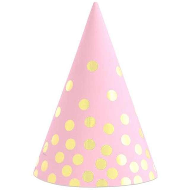 """Czapeczki papierowe """"Złote groszki"""", różowe, 6 szt"""
