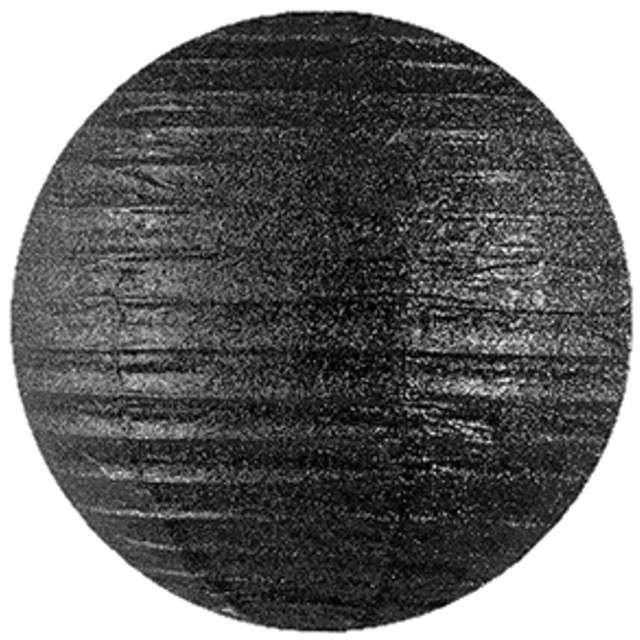 Lampion papierowy, czarny brokatowy, 20 cm