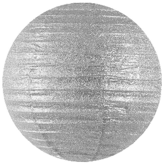 Lampion papierowy, srebrny brokatowy, 20 cm
