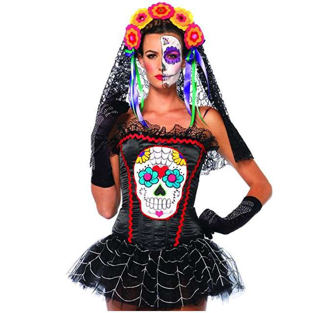 "strój dla dorosłych ""Gorset Sugar Skull"", rozm. S"