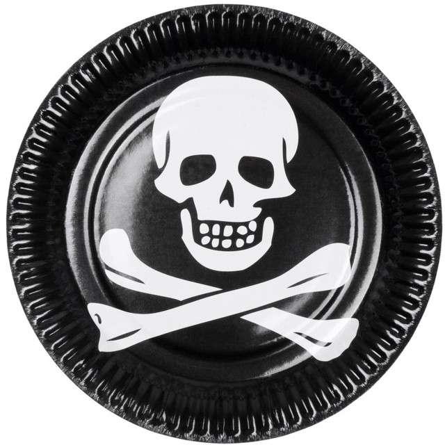 """Talerzyki papierowe """"Pirat"""", czarne, 23 cm, 6 szt"""