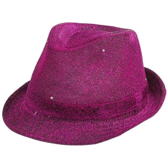 """Kapelusz """"Świecący"""", purpurowy brokat"""