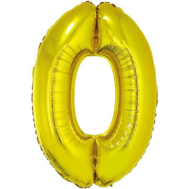 """Balon foliowy cyfra 0, 14"""", GoDan, złota"""