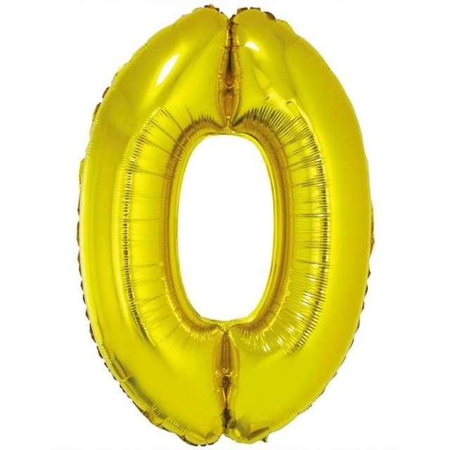 """Balon foliowy cyfra 0, 34"""", GoDan, złota"""