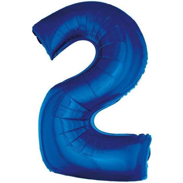 """Balon foliowy cyfra 2, 34"""", GoDan, niebieska"""