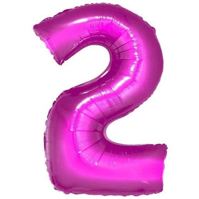 """Balon foliowy cyfra 2, 34"""", GoDan, różowa"""