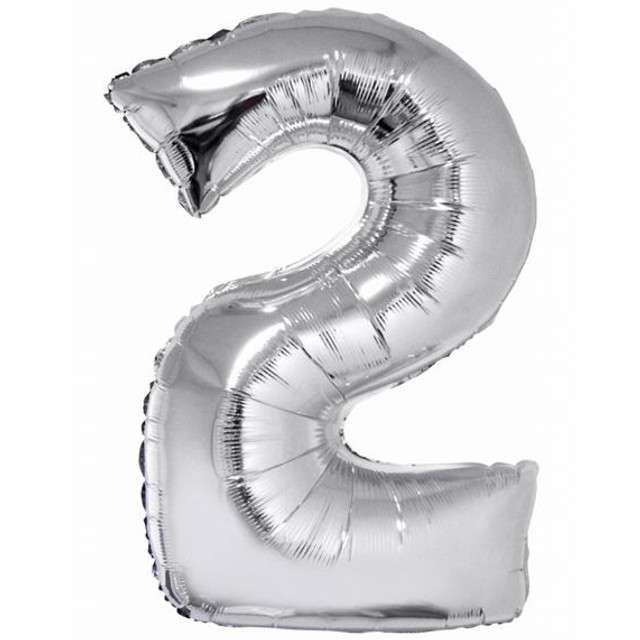"Balon foliowy cyfra 2, 34"", GoDan, srebrna"