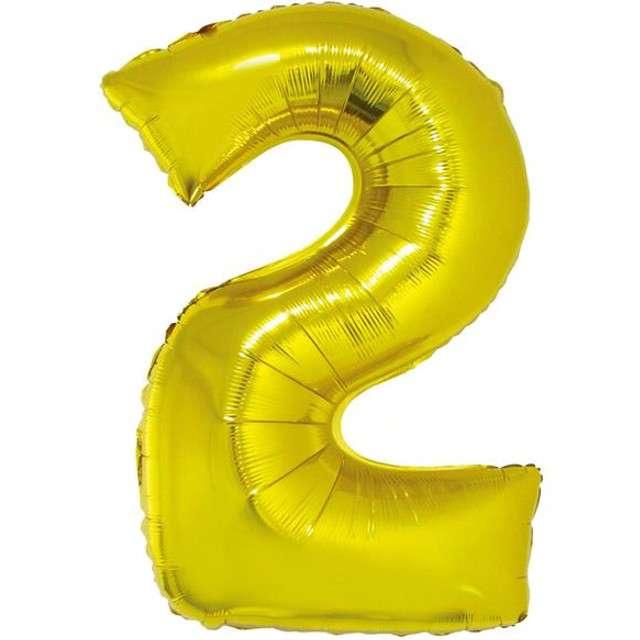 """Balon foliowy cyfra 2, 14"""", GoDan, złota"""