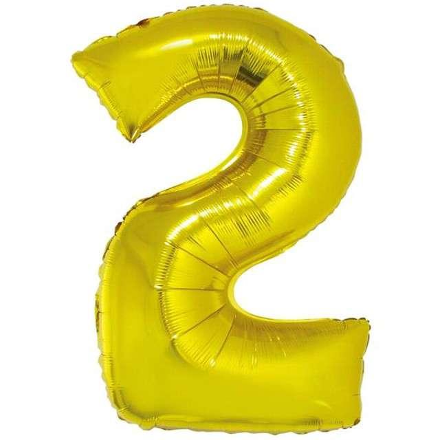 """Balon foliowy cyfra 2, 34"""", GoDan, złota"""