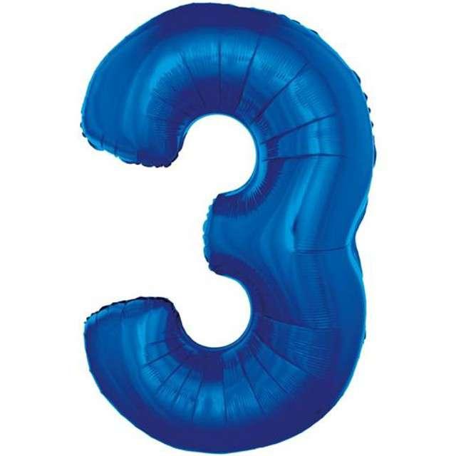 """Balon foliowy cyfra 3, 34"""", GoDan, niebieska"""