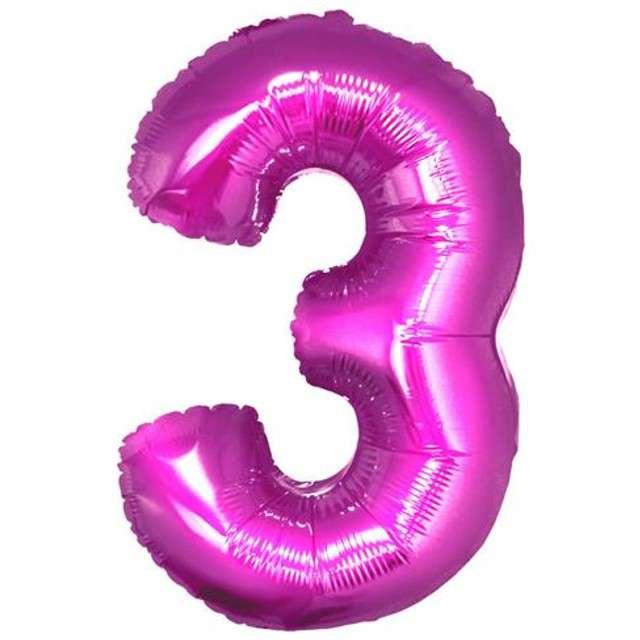 """Balon foliowy cyfra 3, 34"""", GoDan, różowa"""