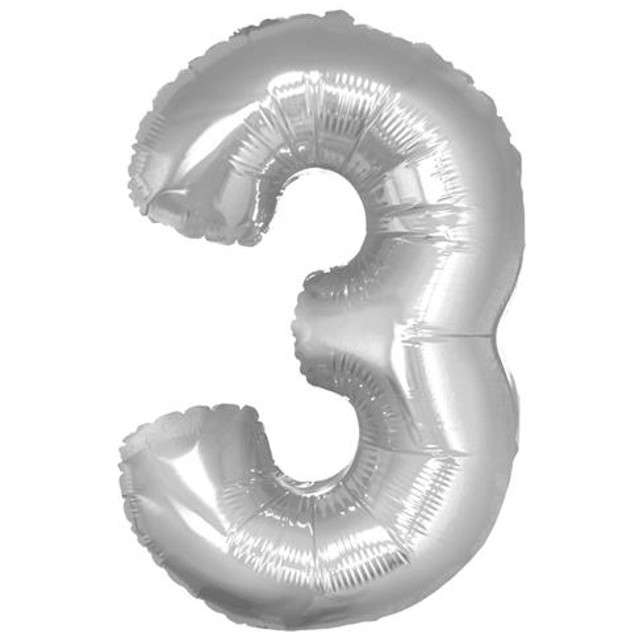 "Balon foliowy cyfra 3, 14"", GoDan, srebrna"