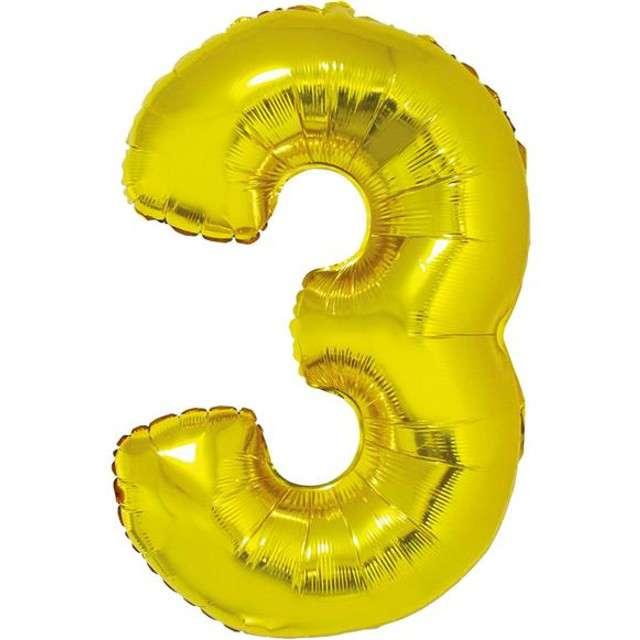 """Balon foliowy cyfra 3, 14"""", GoDan, złota"""